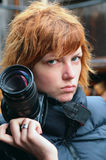 Paparazzi photographer. A young woman paparazzi photographer. Portrait Stock Photo