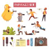 Paparazzi Photographer Cartoon Icons Set. Paparazzi photographers taking pictures cartoon icons collection with camera microphone id card and usb stick vector Royalty Free Stock Photo