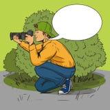 Paparazzi photographer pop art style vector. Illustration. Comic book style imitation Stock Photo