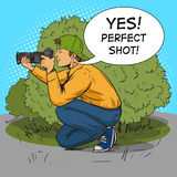 Paparazzi photographer pop art style vector. Illustration. Comic book style imitation Stock Photography