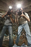 Paparazzi Photographers. Shooting a Murder Victim stock photo