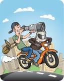 Paparazzi riding motorbike on full speed Stock Photos