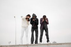 Paparazzi taking capture. People photographers royalty free stock image