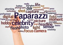 Paparazzi word cloud and hand with marker concept. On white background royalty free stock image