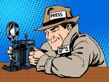 Paparazzis del fotógrafo en la cámara de los medios de la prensa del trabajo Fotografía de archivo libre de regalías