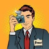 Paparazzis del fotógrafo Reportero con la cámara Medios representante Foto de archivo