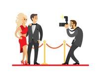 Paparazzis que toman el tiro de celebridades en la alfombra roja ilustración del vector