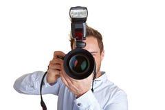 Paparazzo com câmera e flash Foto de Stock Royalty Free