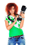 Paparazzo girl Royalty Free Stock Photo