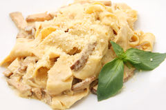 Papardelle with ceps closeup Stock Photo