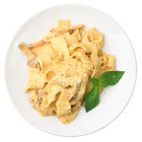 Papardelle with ceps in cream sauce Stock Image