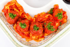 Papardelle Meatballs Overhead Stock Photos