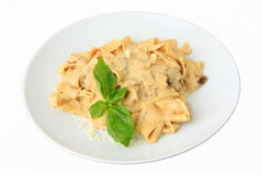 Papardelle with mushrooms in cream sauce Royalty Free Stock Photography