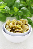 Papardelle with pesto Royalty Free Stock Images