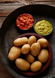 Papas al mojo Canary islands wrinkled potatoes Royalty Free Stock Images