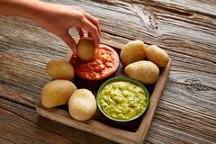 Papas al mojo Canary islands wrinkled potatoes Stock Images