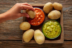 Papas al mojo Canary islands wrinkled potatoes Stock Photos