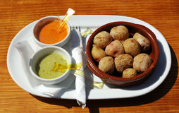 Papas arrugadas. A traditional potato meal from the Canary Islands Royalty Free Stock Photo