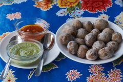 Papas Arrugadas, Traditional Boiled Potato Dish Eaten In The Canary Islands. Canarian Wrinkly Potatoes Stock Photo