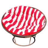 Papasan Chair Red and whit. A large Papasan Chair with red white stripe, outdoor funiture or sunroom circle chair Stock Image