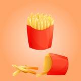 Papases fritas y caja de papel roja Fotos de archivo libres de regalías