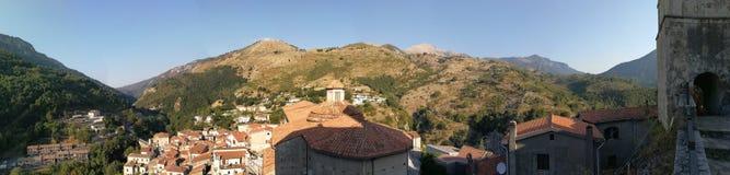 Papasidero - przegląd kasztel od above Zdjęcie Royalty Free