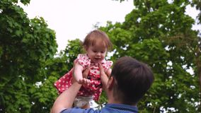 Papaspelen met kind in de zomer in het park Het meisje springt in lucht in handen van papa en het lachen Langzame Motie stock video