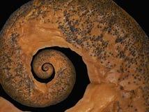 Papaver de zaad gebakken cracknel bublik spiraalvormige abstracte fractal effect achtergrond van het voedselpatroon Knapperige ko Stock Foto's