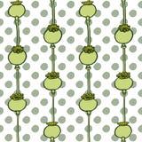 Papaver hoofd naadloos patroon op polka gestippelde achtergrond Stock Foto's