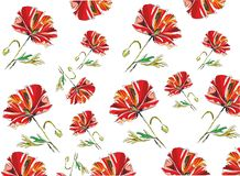 Papaver naadloos patroon op witte backround royalty-vrije illustratie