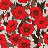 Papaver rhoeas also known as corn poppy, corn rose, field poppy,. Flanders poppy drawing. seamless pattern Stock Photo