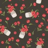Papaverbloemen in metselaarkruiken Naadloos vectorpatroon Royalty-vrije Stock Foto