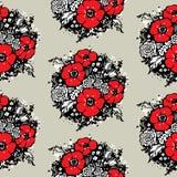 Papaveri ed erbe rossi su un fondo nero Reticolo senza giunte Illustrazione di vettore illustrazione di stock