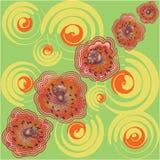 Papaveri sul prato Il modello senza cuciture con l'estate fiorisce su un fondo verde illustrazione vettoriale