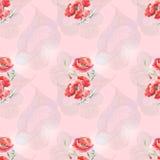 Papavero rosso su fondo rosa Fotografia Stock Libera da Diritti
