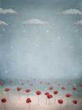 Papavers in de sneeuw royalty-vrije illustratie