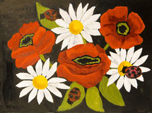 Papavers en camomiles, olieverfschilderij Stock Foto