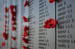Papavers verlaten door bezoekers aan het Australische Oorlogsgedenkteken Stock Foto's