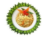 Papaya η σαλάτα είναι σε ένα άσπρο πιάτο Στοκ φωτογραφίες με δικαίωμα ελεύθερης χρήσης