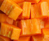 papaya κομμάτια Στοκ Εικόνες