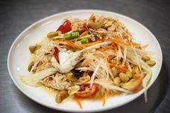 Papaya πικάντικη σαλάτα με τα καβούρια Στοκ φωτογραφίες με δικαίωμα ελεύθερης χρήσης