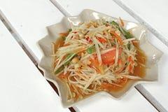 Papaya σαλάτα ή SOM -SOM-tam Στοκ Φωτογραφία