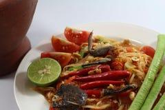 Papaya σαλάτα για τα ταϊλανδικά τρόφιμα Στοκ Εικόνες