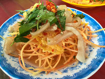 Papaya σαλάτα με το χοιρινό κρέας Στοκ Φωτογραφίες