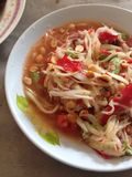 Papaya σαλάτα, Somtum Στοκ Φωτογραφία
