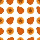 Papaya υπόβαθρο Άνευ ραφής σχέδιο με papaya Επίπεδο ύφος Στοκ Εικόνες