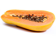 Papaya. Isolated on white background stock photos