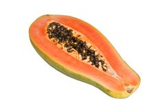 Papaya. Half cut isolated on white background Stock Photography