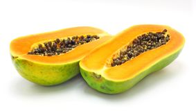 Papaya. Two pieces papaya on white background Royalty Free Stock Photography
