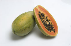 Papaya. A tropical fruit shaped like an elongated melon royalty free stock photos